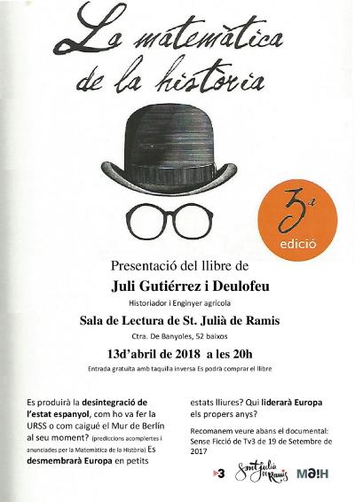 13-4-2018. Presentació del llibre de Juli Gutièrrez Deulofeu a Sant Julià de Ramis. 400x566px.