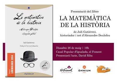 2018-05-26. Presentació del llibre de Juli Gutièrrez Deulofeu a Igualada. 400x283px.