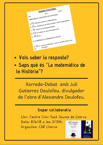 2018-06-08. Xerrada-Debat amb Juli Gutièrrez Deulofeu a Sant Jaume de Llierca. 400x560px.
