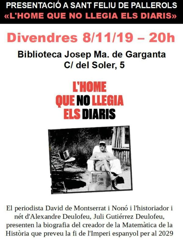 8‑11‑2019. Presentació a Sant Feliu de Pallerols. «L'home que no llegia els diaris».