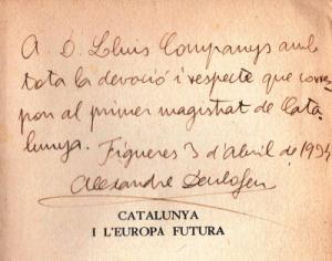 Dedicatoria de Deulofeu a Companys (1934), Biblioteca de Humanidades. UAB.