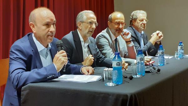 Josep Rius, Josep Mayoral, Francesc Vilaró i Ramon Font durant la presentació del cicle.