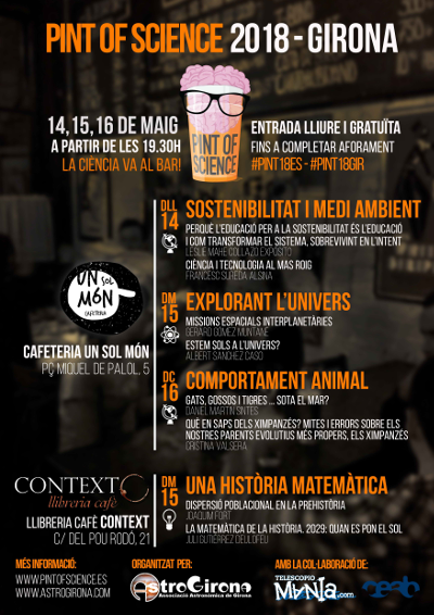 Pint of Science 2018. 2018-05-14, 15, 16. Girona. 400x566px.
