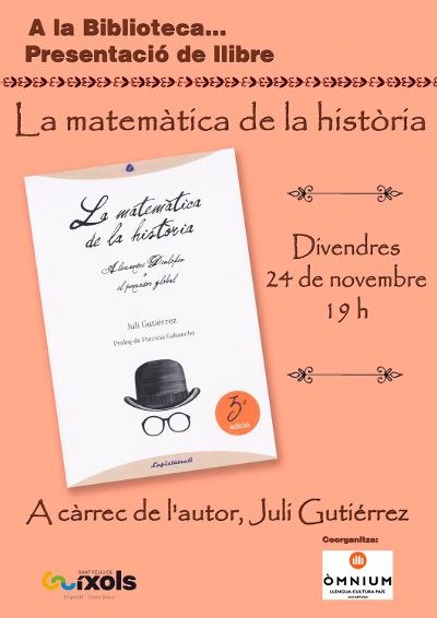 Sant Feliu de Guíxols, 24-11-2017. Presentació del llibre de Juli Gutièrrez Deulofeu. Cartell.